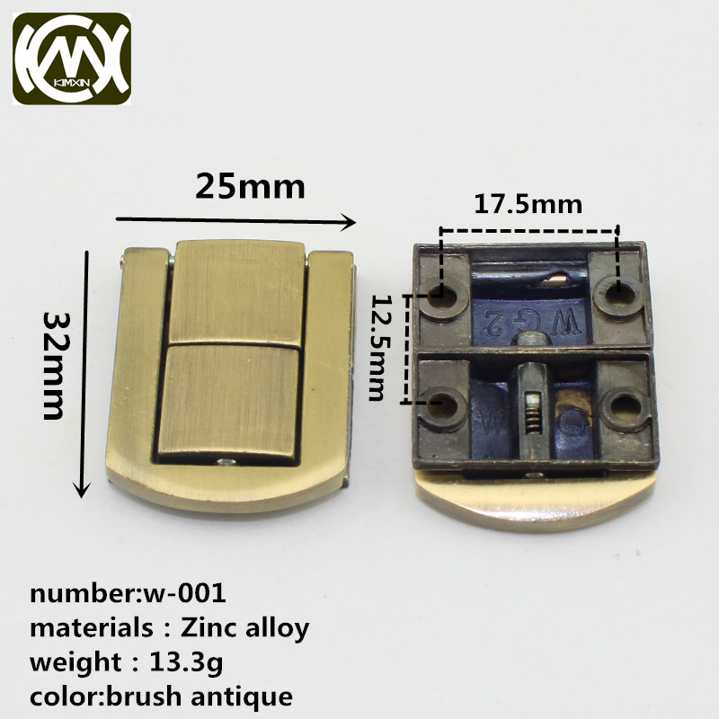 KIMXIN 10 pieces / lot Brush antique lock Jewel box lock Equipped with screw Exempt postage W-001 25*32mm jewelry box hardware
