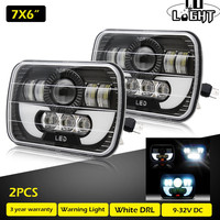 CO LIGHT 1 Pair Running Lights 7X6 Inch 55W Drl Led 40W 15W Angel Eyes Leds for Auto Jeep Wrangler Chevy S10 Sonoma Truck 5x7''