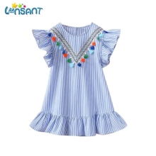 LONSANT Stripe Girls Vestidos 2018 New Kids Baby Girls Clothes Party Princess Vestidos Short Sleeve Dresses Dropshipping