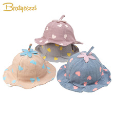 Cute Baby Hat for Girls Cotton Heart Print Children Cap for Boy Spring Summer Baby Girl Hat Accessories Print Baby Bonnet girls baby girl palm print swimsuit with hat