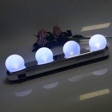 Светодио дный светодиодный макияж зеркало свет 4 лампы присоске установка туалетный столик туалетный свет ванная комната настенный светильник батарея питание