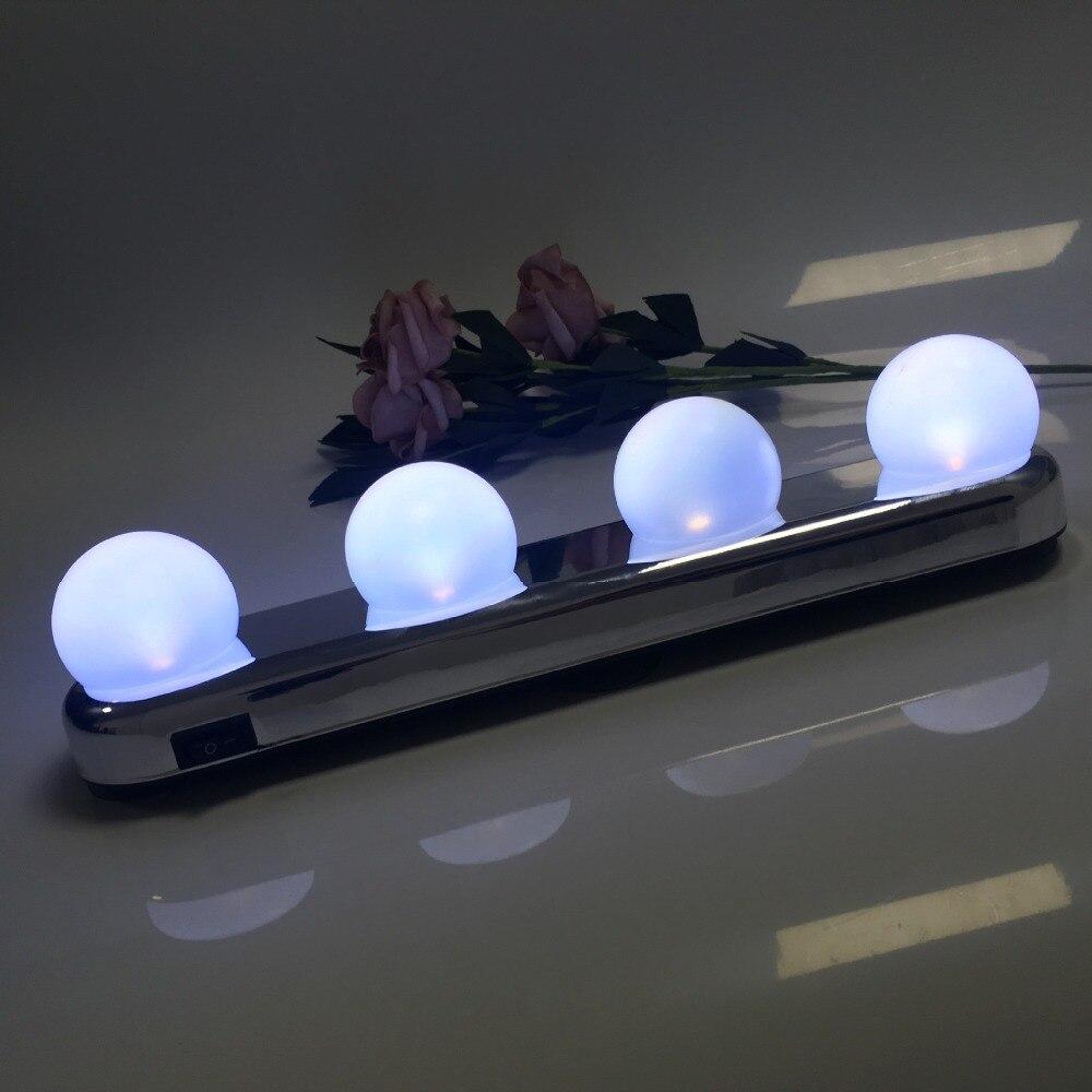 Luz de espejo de maquillaje Led 4 bombilla ventosa instalación tocador Luz de baño lámpara de pared a batería