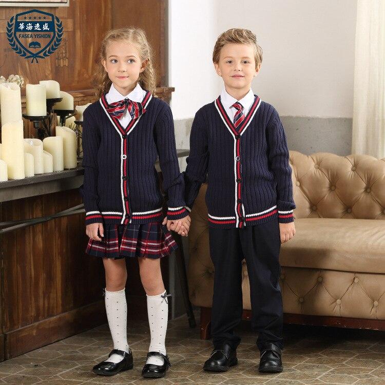 Enfants école uniforme 3 pièces pantalons chandails chemise école porter filles Style britannique maternelle costume primaire classe uniforme D-0508