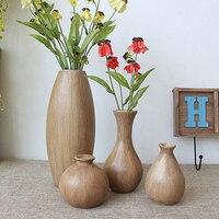 Деревянная Ваза Цветочная композиция гостиная Европейская ретро деревянная Цветочная композиция спальня Кофейня декоративная ваза