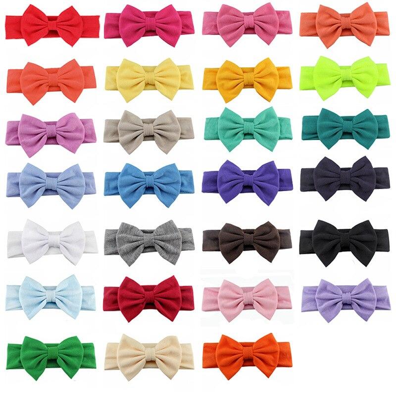 Новинка года; хлопковая эластичная однотонная повязка на голову с бантом для новорожденных девочек; Детская повязка для волос; повязка на голову для младенцев; Бандо; bebe - Цвет: 1pcs random colors