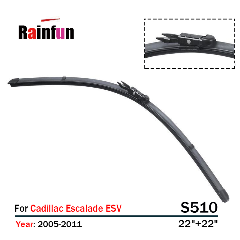 RAINFUN FRONT WIPER BLADE S510 22+22 FOR CADLLAC ESCALADE ESV(05-11),Push Button type wiper blade, 2 PCS A LOT
