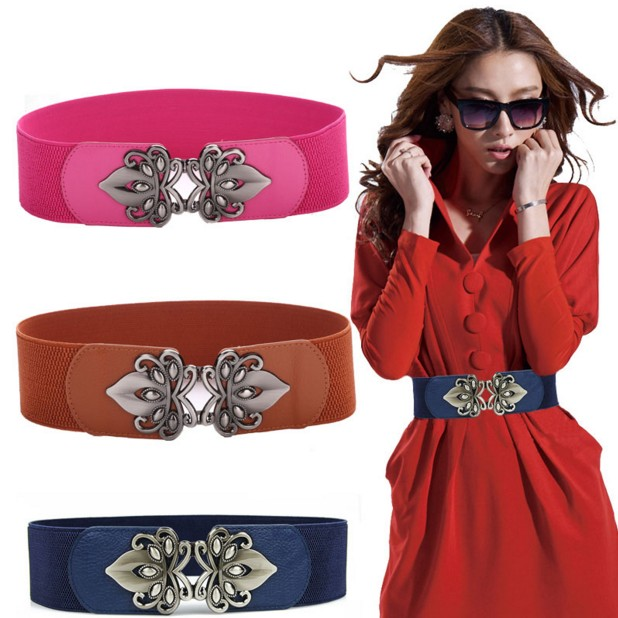 Chinese Knot Decoration Metal Buckle Elastic Waist Belt Women's All-match Waist Decoration Strap Skirt