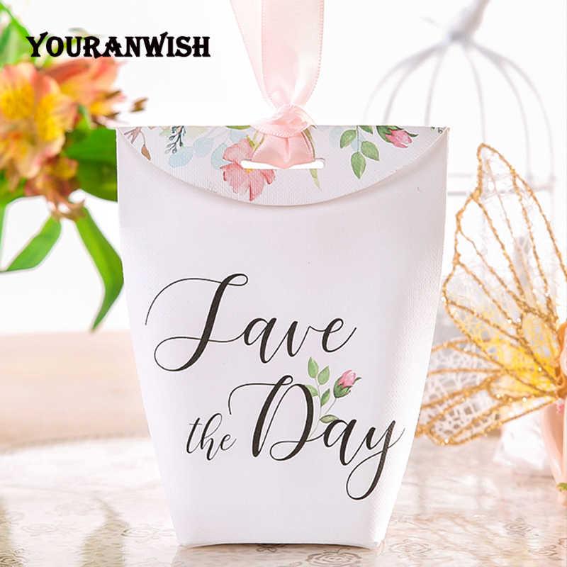 Cajas de Regalo personalizadas DIY YOURANWISH, Cajas de Regalo de papel de lujo para bebé, Cajas de Regalo para bebé, caja de dulces de flores rosadas, 50 unids/lote