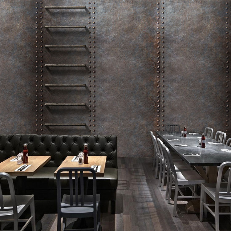 Custom 3d mural retro metal rust wallpaper Cafe Bar Restaurant KTV hotel living room background Iron ladder wallpaper mural free shipping living room bedroom office traditional magic chinese dragon wallpaper ktv bar restaurant hotel wallpaper mural