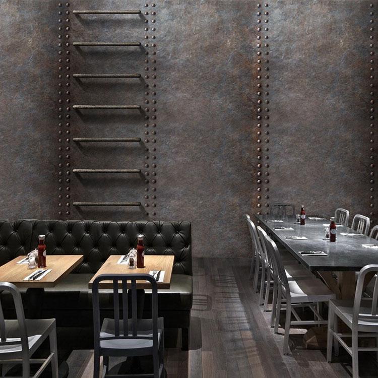 Custom 3d Mural Retro Metal Rust Wallpaper Cafe Bar Restaurant KTV Hotel Living Room Background Iron Ladder Wallpaper Mural