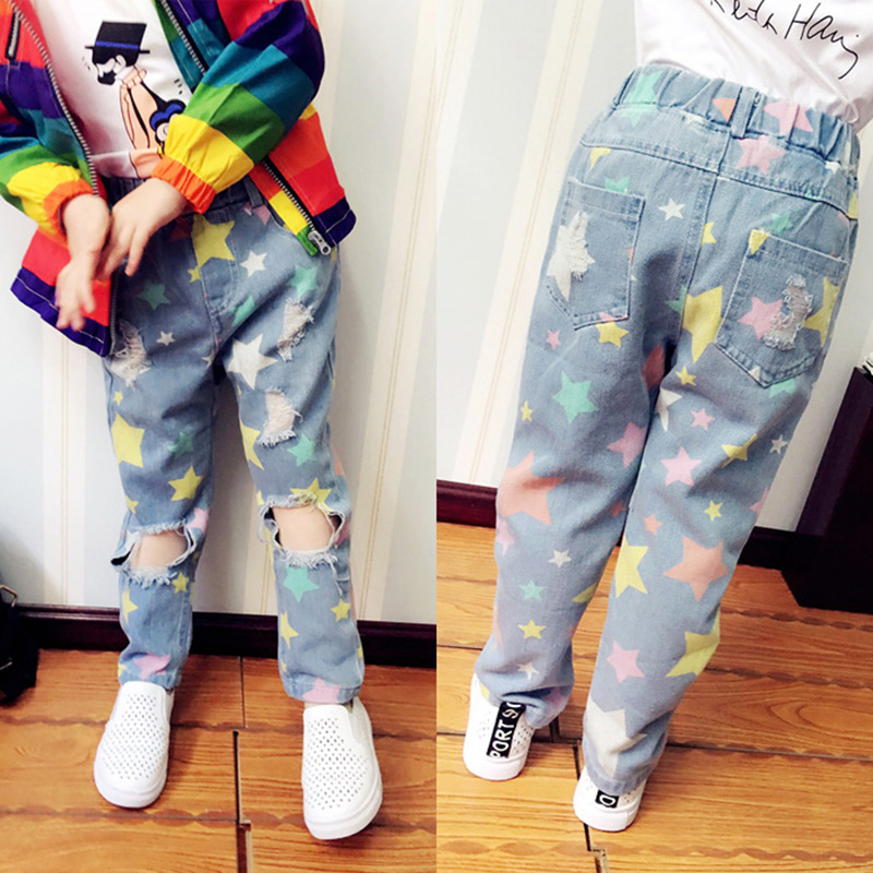 fashion-jeans-for-girls-boys-trousers-star-print-hole-ripped-denim-jeans-for-kids-spring-autumn-loose-pants-toddlers-baby-jeans-2