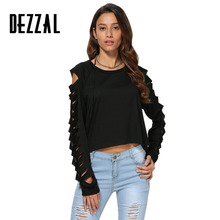 DEZZAL Hollow Cut Out Long Sleeve Sexy T Shirt Women Spring Autumn Casual Black Crop Top Ladies Cold Shoulder Tees Tops Femme