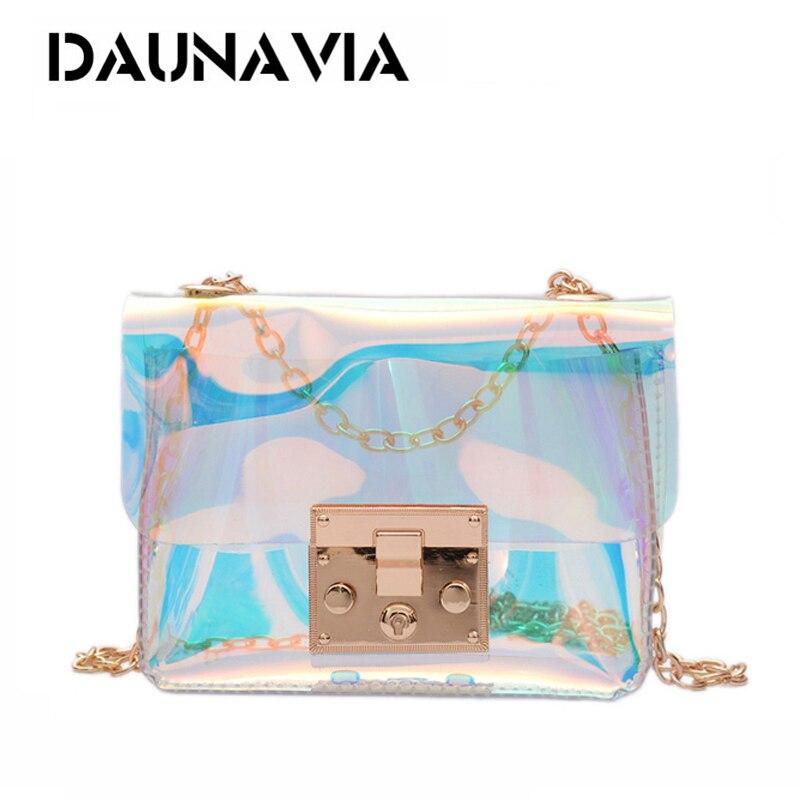 DAUNAVIA clear bag women crossbody bags transparent PU women leather bags luxury designer brand new shoulder bag for women 2018