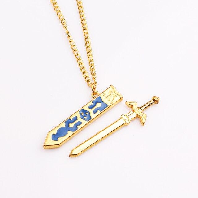 Legend of zelda removable master sword necklaces pendants gold legend of zelda removable master sword necklaces pendants gold chain sky sword with sheath necklace aloadofball Choice Image