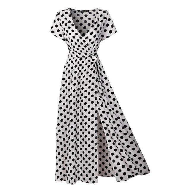 Summer Women Beach Boho Maxi Long Dress Vintage Polka Dot Sexy V Neck Split Femme Casual Party Dresses Short Sleeve Vestido