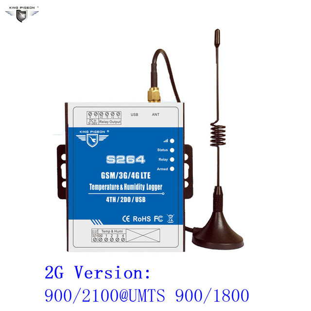 GSM GPRS Remote Control SMS 2G/3G/4G Temperature Humidity Monitoring Data Logger 200000 Records Alarm System KING PIGEON S264