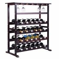 Goplus Novo 24 Garrafas de Vinho Madeira Rack Suporte para Garrafa Bar Casa de armazenamento Da Cozinha Prateleira de Exposição Do Vinho com o Vinho de Vidro Cabide HW51143