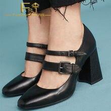Black Buckles Mary Jane Shoes Square Toe Block Heels Pumps Buckle Strap  Spring Autumn Summer Anniversary Fashion FSJ Elegant bd566d788a7d
