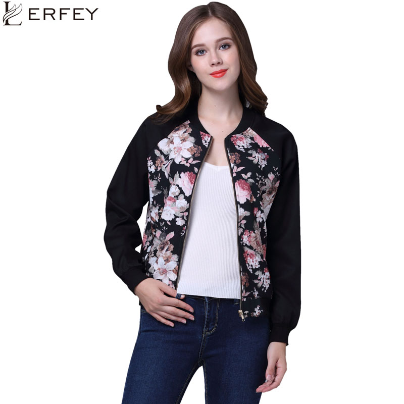 LERFEY Floral Print Women   Basic     Jacket   Coats Autumn Winter Bomber   Jacket   Long Sleeve Casual   Basic     Jackets   jaqueta feminina