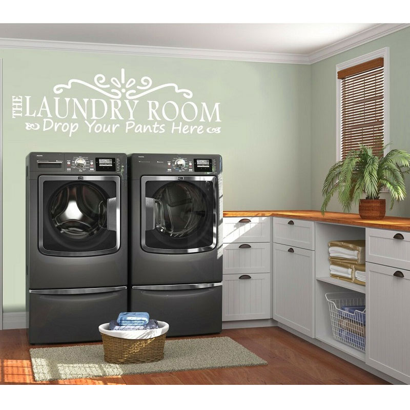 Personality description vinyl wall decals put your pants here detachable laundry room decoration wallpaper XY02 in Wall Stickers from Home Garden