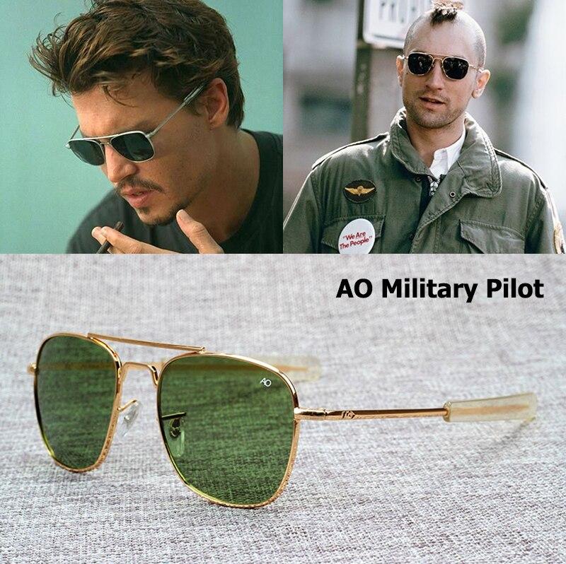 Jackjad nova moda militar do exército ao piloto 54mm óculos de sol marca americano lente vidro óptico óculos sol óculos de sol masculino
