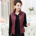L-5xl Down Vest Women Stand - Collar Plaid Waistcoat Plus Size Middle-aged Mother Parka Short Coat  Fall And Winter J309
