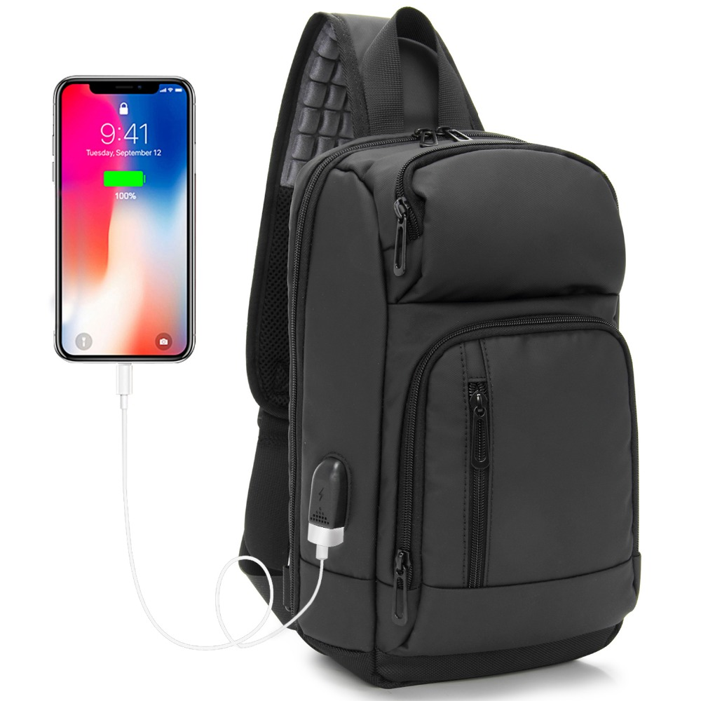 Sling Bag PU Black Chest Bag fit in 10 inch Ipad USB Charging Casual Daypack water