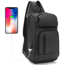 Sling Bag PU Black Chest Bag fit in 10 inch Ipad USB Charging Casual Daypack  water-repellent Mochila for Male and Female KSL