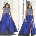 Verdadeiro amostra two piece prom dress 2017 alta pescoço lado sexy slit pesado frisada de cristal longa noite dress azul formal party dress