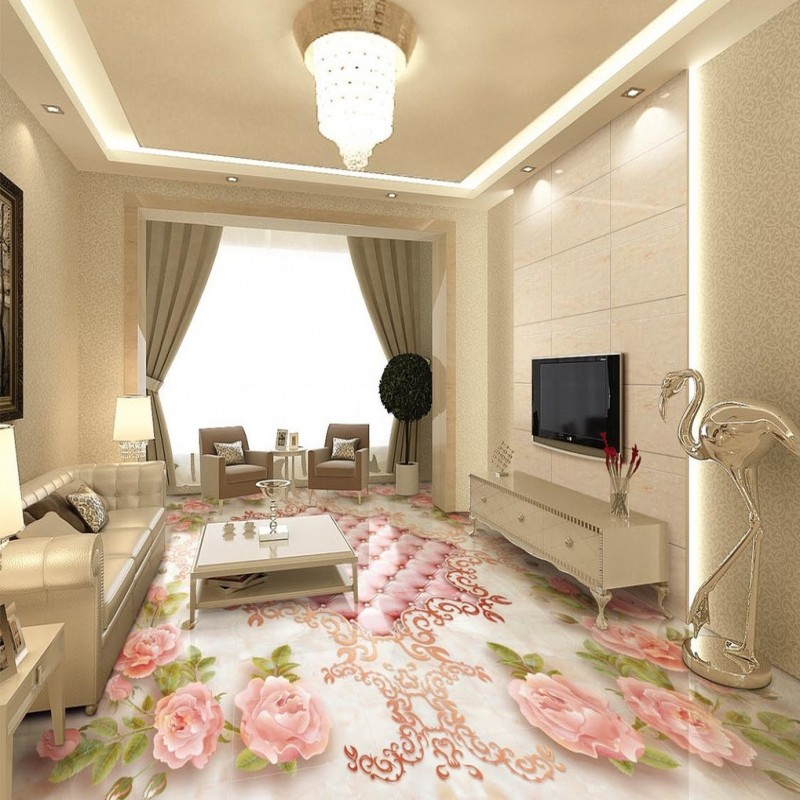 Living Room Marble Floor Painting Free Shipping Continental Rose Soft Marble Embossed Floor Painting .