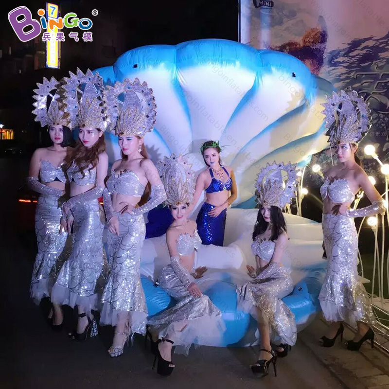 8.2ft inflatable big seashell / air blown clam shell / inflatable seashell display with digital print toys studio clam
