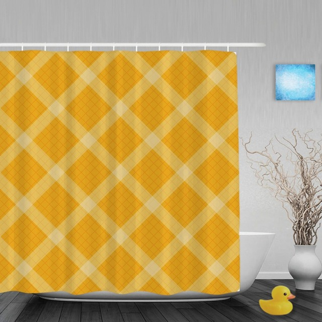 Seamless Knitting Pattern Decor Bathroom Shower Curtains Yellow Grid