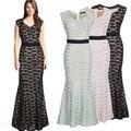 Envío gratis 2016 nueva manera de la llegada solid mujeres del cordón dress sexy clubwear delgado largos vestidos de fiesta elegantes vestidos más el tamaño