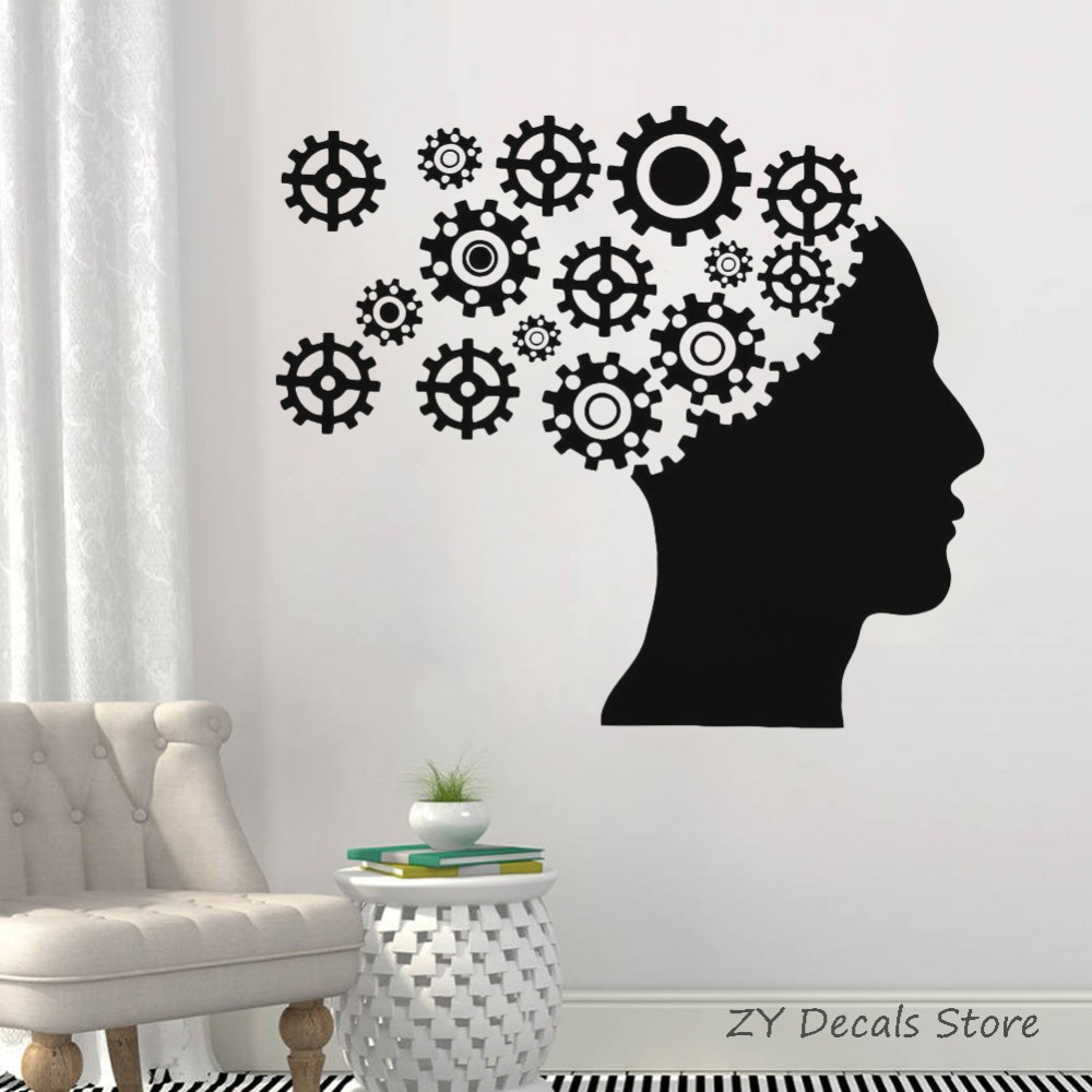 Head Gears Wall Decal Bedroom Home Decor Mechanism Cogwheel Vinyl Sticker Office Decoration Teamwork Wall Stickers Mural S708