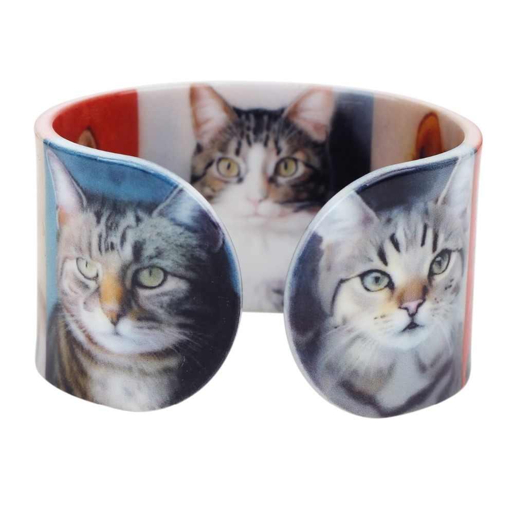 Bonsny プラスチック猫子猫バングルブレスレットファッションインドステートメントクラフト女性ガールレディース動物 Accessiories