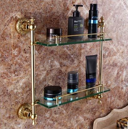 Luxury Bathroom Shelf Dual Glass Tiers Caddy Storage Golden Brass free shipping golden single bathroom shelf glass shelf brass made base glass shelf bathroom hardware bathroom accessories 67011