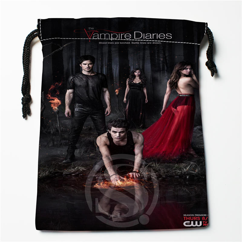 V#bq54  New The Vampire Diaries Custom Logo Printed  Receive Bag  Bag Compression Type Drawstring Bags Size 18X22cm 7=12JvQ54