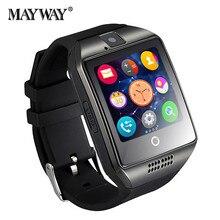 Venta caliente bluetooth smart watch q18 apro deportes mini cámara para android ios iphone samsung smartphones táctil de la tarjeta sim gsm pantalla