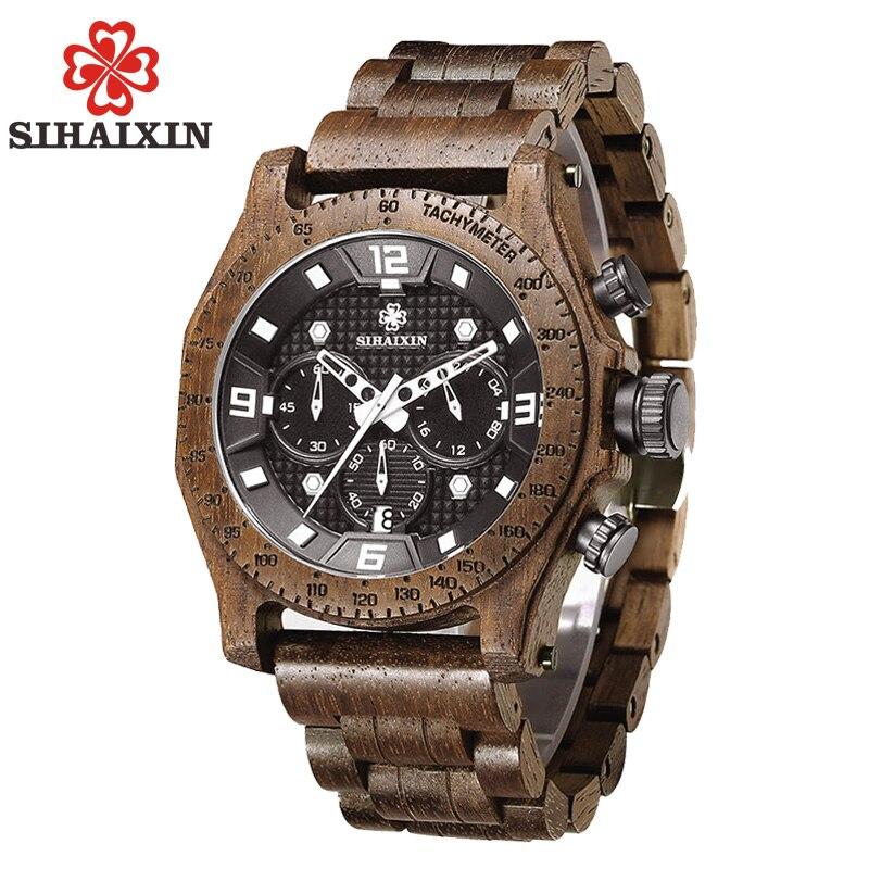 SIHAIXIN Date Hommes de Noyer En Bois Montre Étanche Sport Quartz Chronographe-Bracelet Militaire Montres Japon Mouvement Mâle Horloge