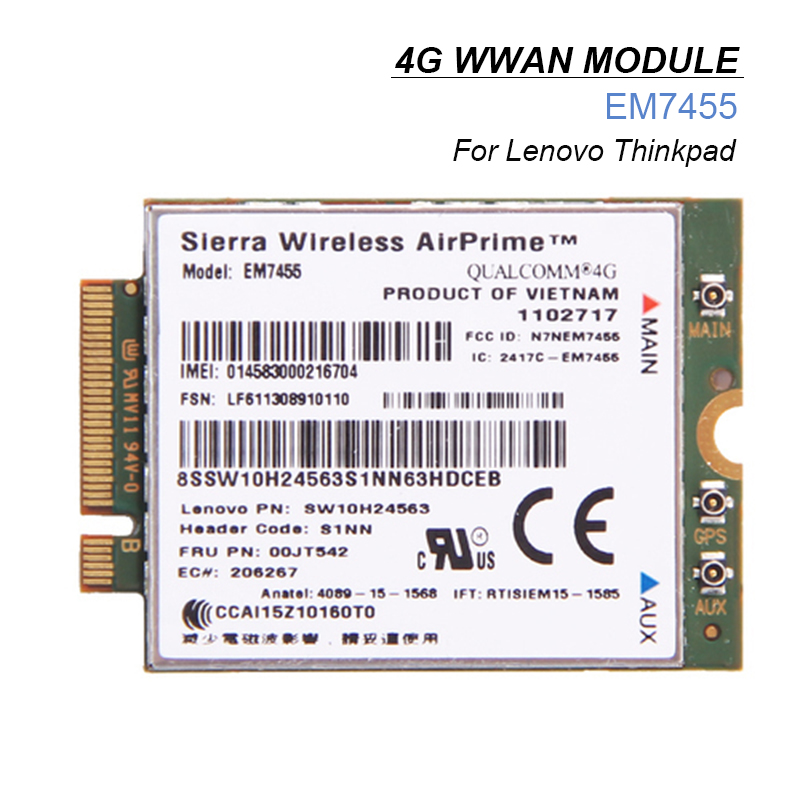 4G LTE WWAN Card for Sierra Wireless Airprime EM7455 Module FRU:00JT542 For Lenovo X260 T460 P50 P70 L560 jinyushi for sl8082bt airprime 2g 100% new
