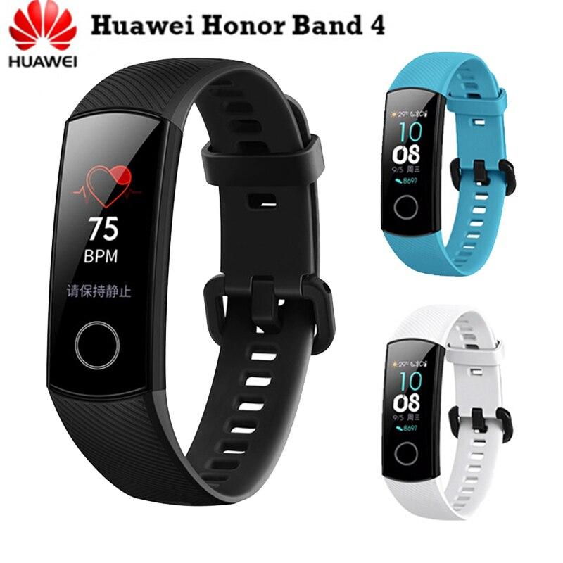 D'origine Huawei Honor Bande 4 Fitness Bracelet 0.95 AMOLED Tactile Grand Écran De Natation Posture de Détecter la Fréquence Cardiaque Moniteur Sommeil snap