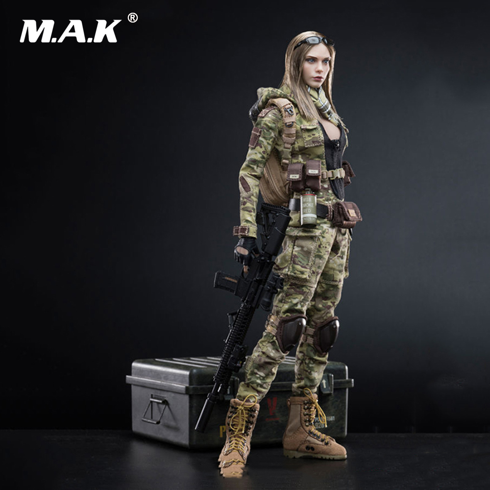 1:6 Scale Full Set Female Soldier Action Figure MC Camouflage Women Soldier - Villa Figure Model Toys for Collection 1 6 scale desert camouflage tactical vest male cloths for 12 action figure soldier body accessories toys