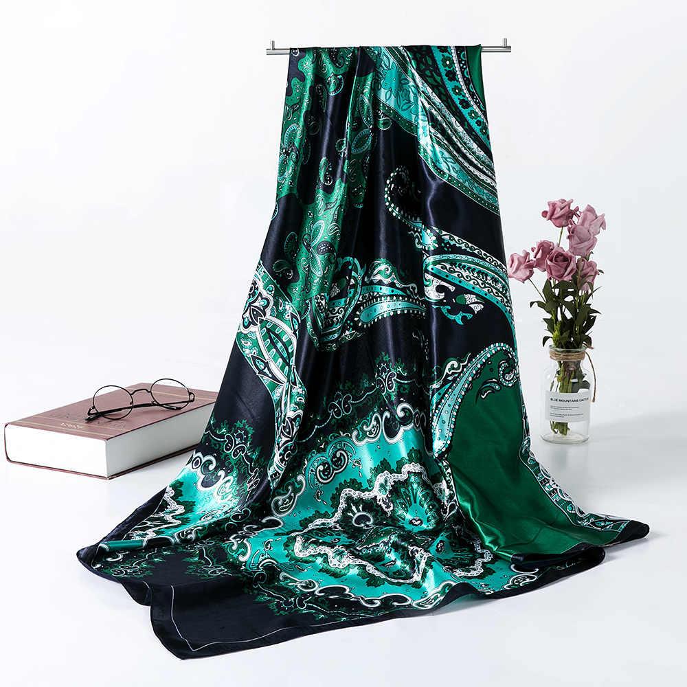 Gaya Hijab Syal Wanita Syal Mewah Merek Faux Satin Sutra Syal Foulard Kepala Persegi Lulur 2019 Baru Fashion Selendang 90*90 Cm