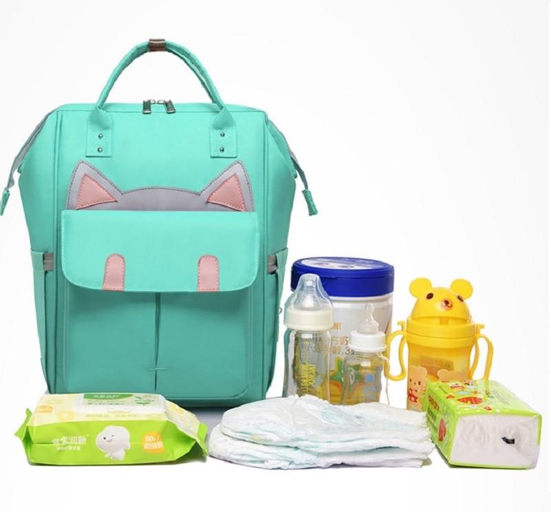 New Apprival Cartoon Upgrade Fashion Backpack Mummy Bag Multi-function Large Capacity Maternal and Child Bags Handbag (4)