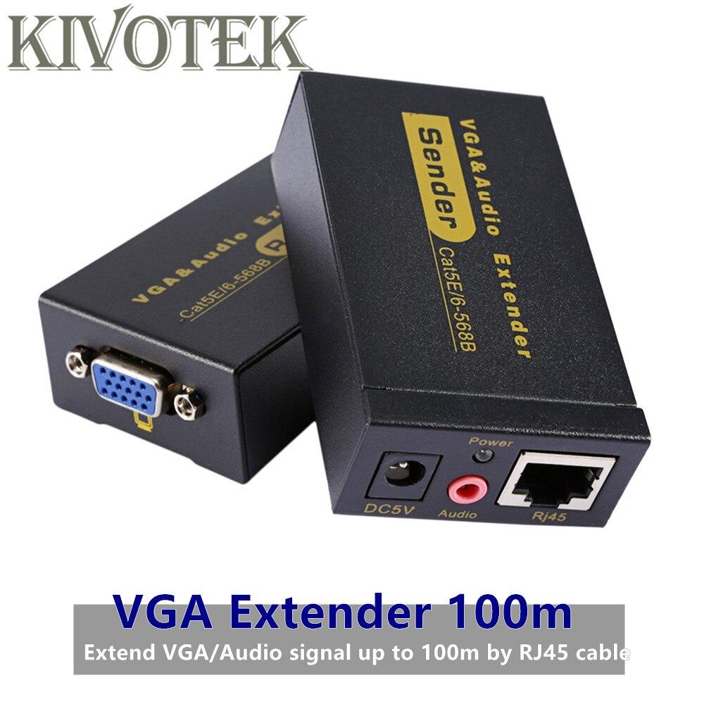 Adaptateur d'extension VGA VGA, SVGA, XGA, UXGA Extension d'émetteur VGA 100 m par connecteur Lan CAT5e/6 RJ45, pour CCTV, HDTV livraison gratuite