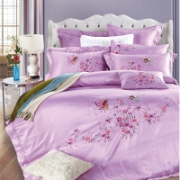 Cotton/tencel satin embroidered Purple flowers Bedding Set Duvet Cover Bed sheet Pillowcase Bed Linen King Queen size 4pcs