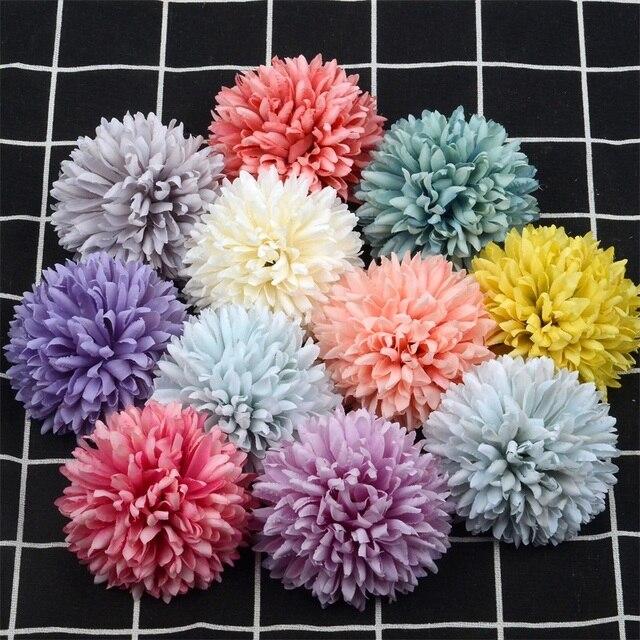 5 adet 6.5cm ucuz papatya yapay ipek gül çiçek başları DIY Scrapbooking Craft sahte çiçek öpücük topu düğün için dekoratif