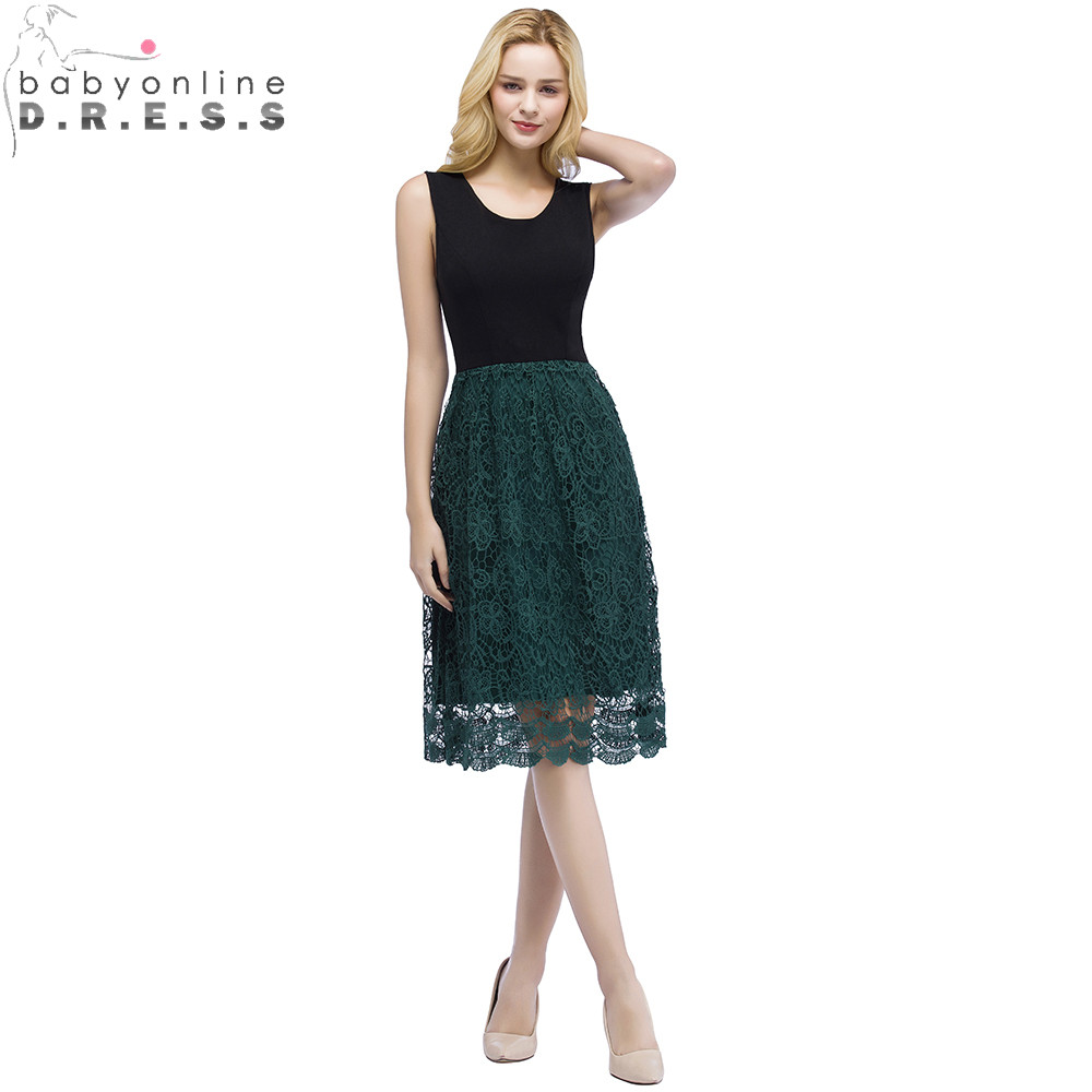 Robe   Cocktail   Summer Beach Style Green Lace   Cocktail     Dresses   Charming Sleeveless Black Short Club Party   Dresses