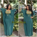 Dubai Kaftan Dark Green Evening Dresses With Long Sleeves Chiffon Gold Beaded Morocco Ladies Formal Gowns Plus Size Abendkleider