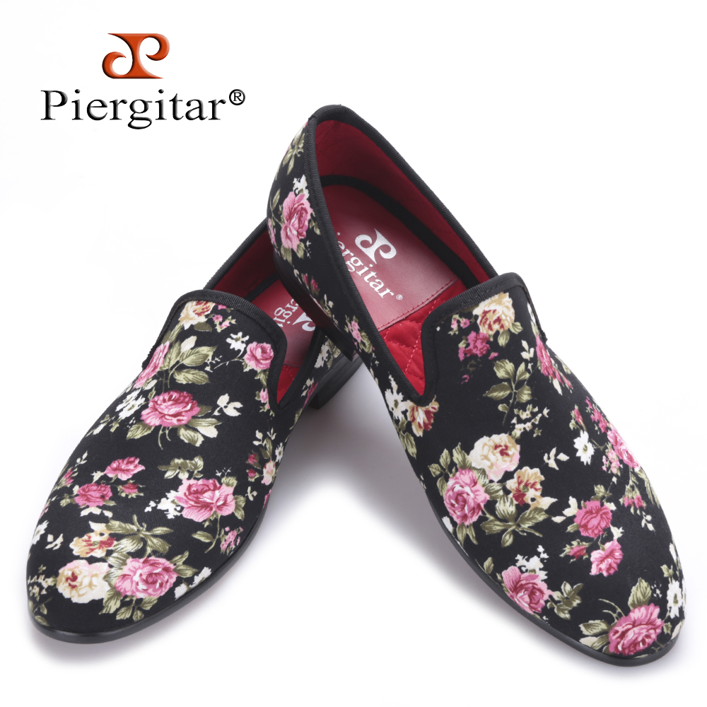 Piergitar 2016 New Handmade Flower printing Men Canvas Shoes Men Wedding and Party Loafers Men Flats Size US 4-17 Free shipping 2016 new fashion embroidery genuine leather man shoes handmade wedding and party male loafers men flats size 39 47 free shipping